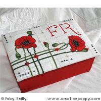 Boite coquelicot (et alphabet) - grille point de croix - création Faby Reilly