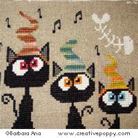 <b>Quatuor de chats</b><br>grille point de croix<br>création <b>Barbara Ana</b>