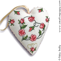 <b>Coeur Sweet roses</b><br>grille point de croix<br>création <b>Faby Reilly</b>