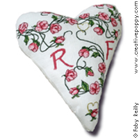 <b>Sampler coeur Sweet roses</b><br>grille point de croix<br>création <b>Faby Reilly</b>
