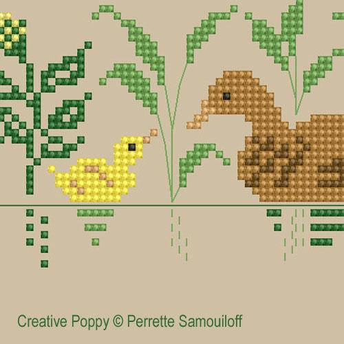 <b>Maman et bébé animaux (grand modèle)</b><br>grille point de croix<br>création <b>Perrette Samouiloff</b>