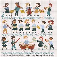 L'orchestre (grand modèle) - grille point de croix - création Perrette Samouiloff