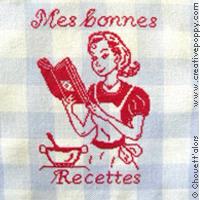 <b>Mes bonnes recettes</b><br>grille point de croix<br>création <b>Chouett'alors</b>