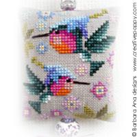 <b>Les colibris - ornement pour ciseaux</b><br>grille point de croix<br>création <b>Barbara Ana</b>