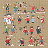 Collection Bonheurs d'enfance - Hiver - grille point de croix - création Perrette Samouiloff