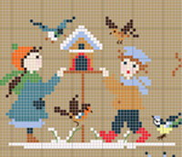 Bonheur d'enfance: Hiver, broderie point de croix, création Perrette Samouiloff