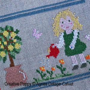 <b>Une histoire à broder: Au jardin, en famille</b><br>grille point de croix<br>création <b>Agnès Delage-Calvet</b>