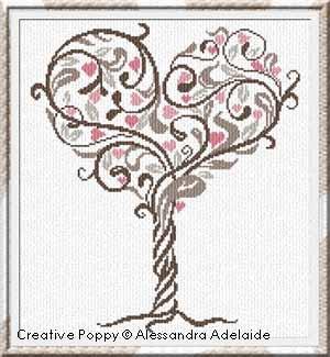 L'arbre d'Amour, broderie point de croix, création Alessandra Adelaide Needleworks