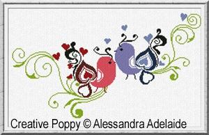 Passeroli de la Saint Valentin, broderie point de croix, création Alessandra Adelaide Needleworks
