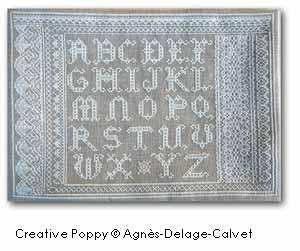 Sampler ABC dentelles, grille de broderie, création Agnès Delage-Calvet