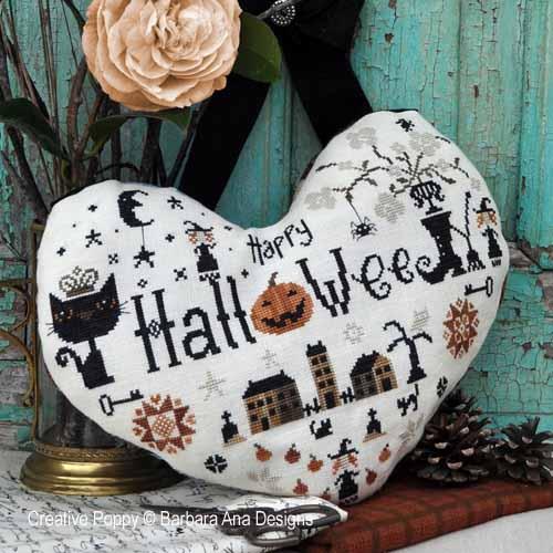 Le coeur de Halloween, grille de broderie, création Barbara Ana