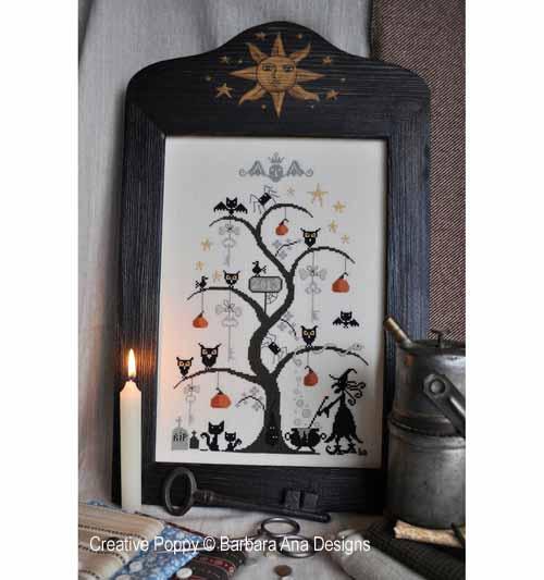L'arbre d'halloween, grille de broderie, création Barbara Ana