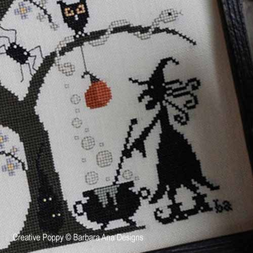 Grilles de broderie point de croix, création Barbara Ana, sur le thème de l'automne et de Halloween