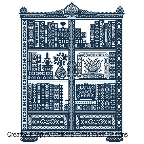 La bibliothèque - grille de point de croix création Galliana