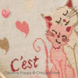 C'est chat l'amour!, grille de broderie, création Chouett'alors