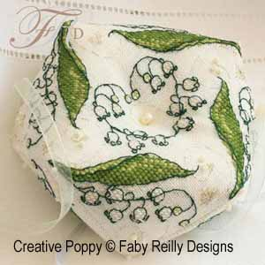 Faby Reilly - Biscornu au muguet (grille de broderie point de croix)