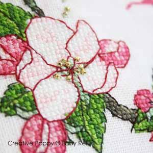 Poubelle à fils, motif fleurs de pommier