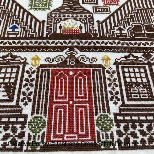 Maison de Noël, grille de broderie, création Galliana