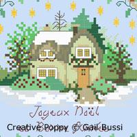 La maison en fête, broderie point de croix, création Gail Bussi, Rosebud Lane Designs