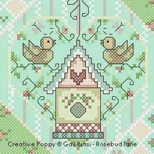 Petit nid d'amour, broderie point de croix, création Gail Bussi, Rosebud Lane Designs