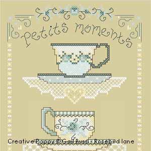 Les porcelaines bleues, broderie point de croix, création Gail Bussi, Rosebud Lane Designs