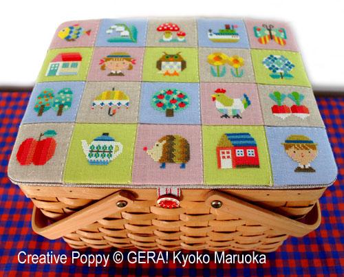Mini motifs patchwork, grille de broderie, création GERA! Kyoko Maruoka