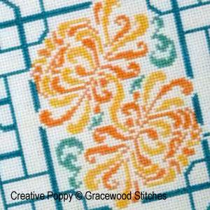 <b>Paravent aux chrysanthèmes</b><br>grille point de croix<br>création <b>Gracewood Stitches</b>