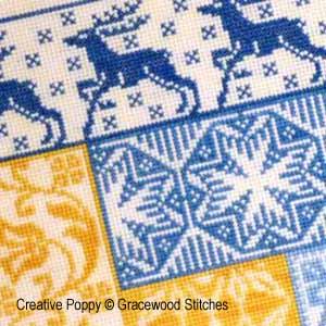 <b>Motif Log Cabin - L'hiver</b><br>grille point de croix<br>création <b>Gracewood Stitches</b>