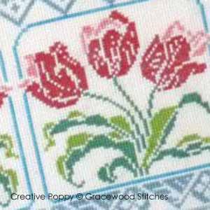 Hommage à la tulipe, broderie point de croix, création Gracewood Stitches