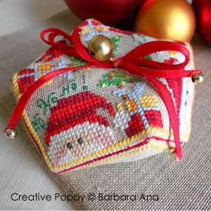 Ruban décoration Noël avec double noeud et embouts perles - monté sur biscornu