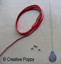 Ruban décoration Noël avec double noeud et embouts perles fournitures