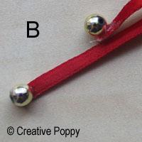 Ruban décoration Noël avec double noeud et embouts perles - étape B