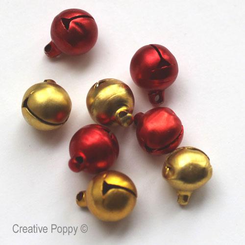 mini grelots dorés métallisés pour broderies de Noël