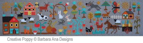 Le nouveau monde (partie I) - Prairies généreuses, grille de broderie, création Barbara Ana