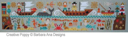 Le nouveau monde (partie V) - Par delà les mers, grille de broderie, création Barbara Ana