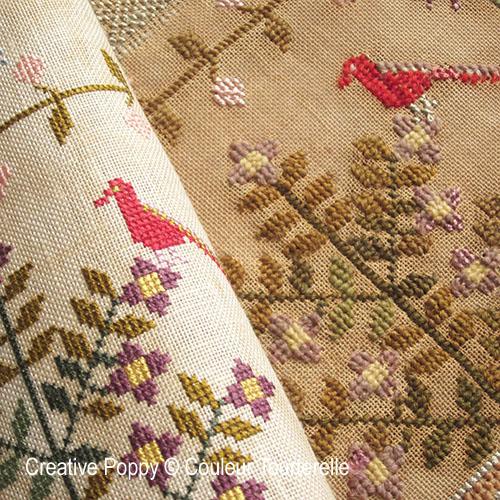 Couleur Tourterelle - reproductions de marquoirs anciens brodés au point de croix