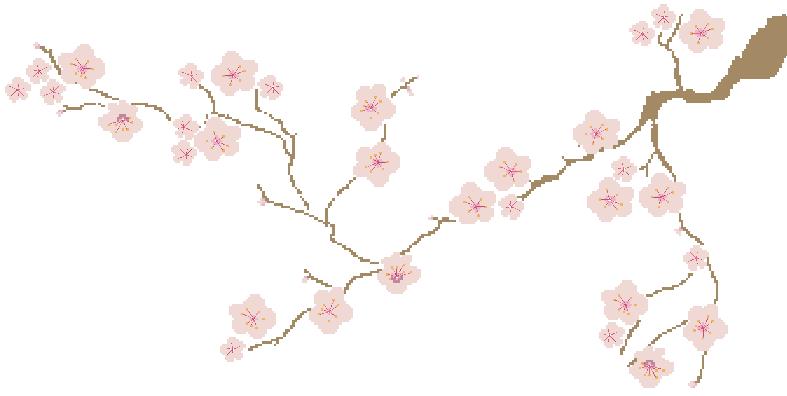Broderie Le vieux cerisier, création Kyoko's Studio