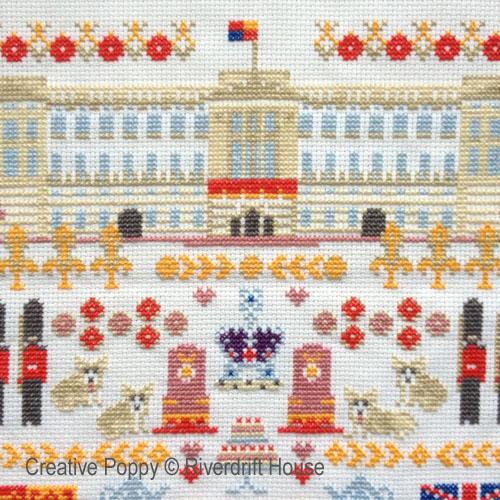 broderies de point de croix avec châteaux de la famille royale, création Riverdrift House