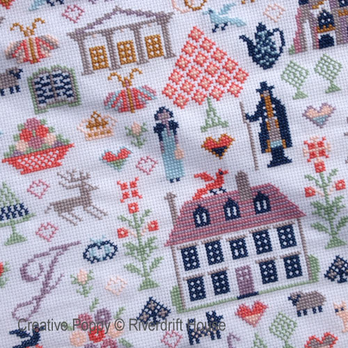 Hommage à Jane Austen, broderie point de croix par Riverdrift House