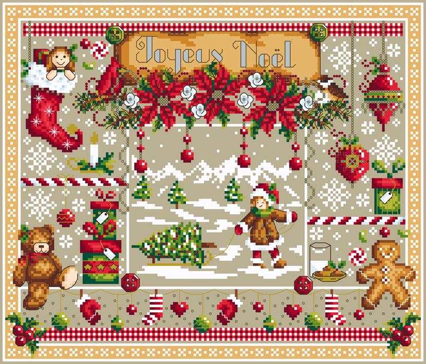 Les joies de Noël, grille de broderie, création Shannon Christine Wasilieff