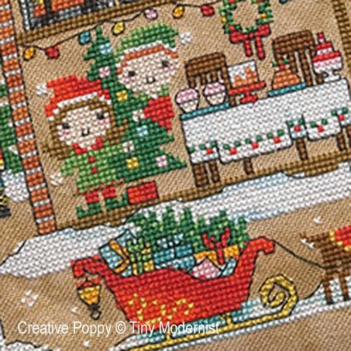 La maison du Père Noël broderie point de croix, création Tiny Modernist, zoom1