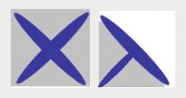 Un point de croix et un trois-quart de point de croix