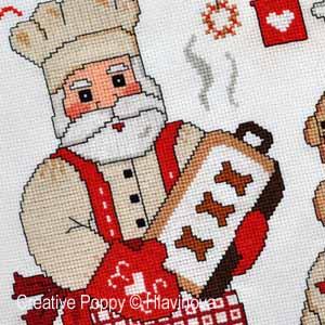 Grilles de broderie point de croix avec des gateaux et des biscuits de Noël