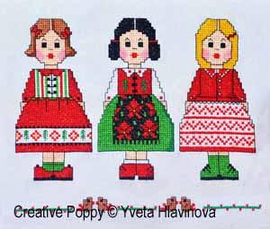 Mes poupées, broderie point de croix, création Iveta Hlavinova