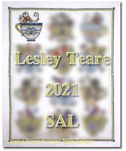 Grille Mystère: Les tasses de porcelaine - SAL 2021 Lesley Teare, grille de broderie, création Lesley Teare