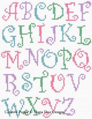 Maria diaz alphabet aux volutes grille de broderie - Grille point de croix lettre ...