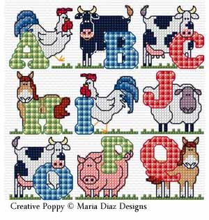 Maria Diaz - Alphabet de la ferme (grille de broderie point de croix)