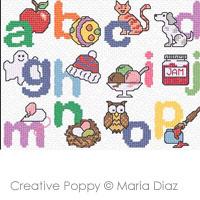 """Maria Diaz - """"A is for Apple"""" (imagier anglais) (point de croix)"""