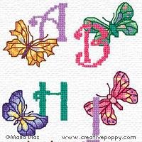 <b>Alphabet aux papillons</b><br>grille point de croix<br>création <b>Maria Diaz</b>
