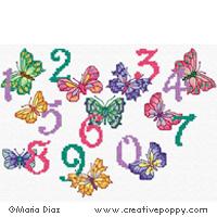 Maria Diaz - Chiffres aux papillons (point de croix)